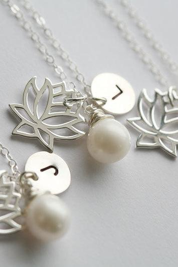 Set of 4,Lotus necklace,Customize initial sterling silver necklace,wire wrapped pearl,wedding jewelry,bridesmaid gifts,birthday,flower girl