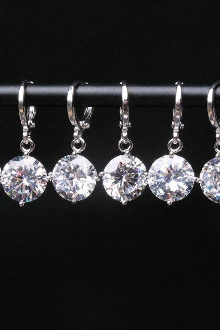 10% OFF,Set of 7,Discount Diamond Cubic Zirconia Earrings,bridesmaid earrings,Large cz earrings,wedding jewelry,Cubic zirconia earr