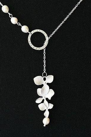 Orchid Flower Sterling Silver Necklace,Wire wrapped pearl,Hammered Circle Eternity,Wedding jewelry,Bridesmaids necklace