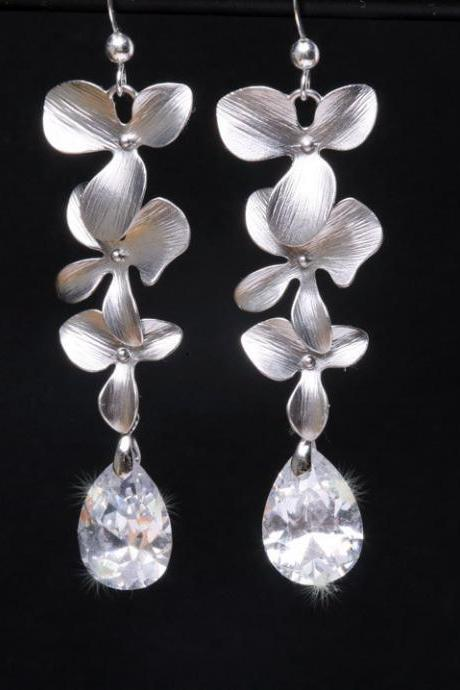 Orchid Flower Earrings,Bridal Earrings Cubic Zirconia Earrings,bridesmaid earrings,Teardrop cz earrings,wedding jewelry,Cubic zirconia