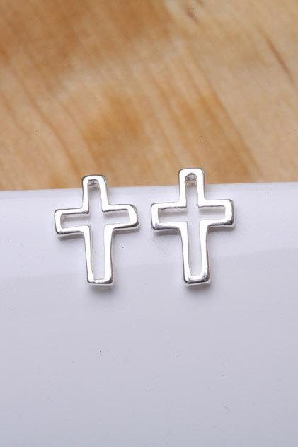 Tiny cross Earrings,Sterling Silver,Blessed,Everyday Earrings,horizontal cross,Daily Jewelry