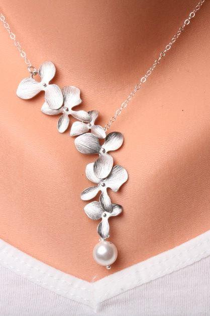 Orchid Flower and pearl on sterling Silver Necklace,flower jewelry,flower girl,bridesmaid gifts,Wedding jewelry
