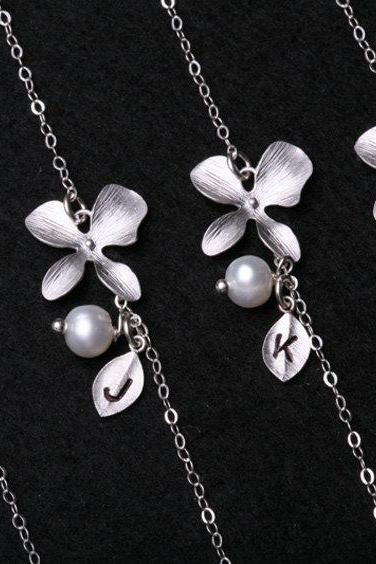 Bridesmaid Gifts,Set of 4,Orchid flower and leaf initial sterling silver bracelet,Flower jewelry,Flower girl,Wire wrapped pearl,Adjustable