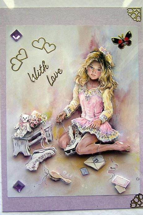 Ice Dreams Hand-Crafted 3D Decoupage Card - With Love (1419)