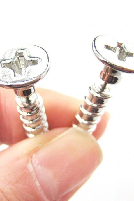 3D Fake Gauge Realistic Nuts and Bolts Screw Stud Earrings in Shiny Silver