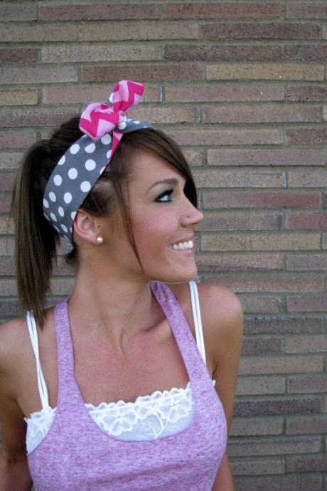 Vintage Inspired Pin Up Dolly Bow Reversible Headband With Easy Twist In Designer Fabric