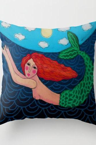 Red Haired Mermaid Pillow Cover Case My Abstract Digital Painting of a Red Haired Mermaid