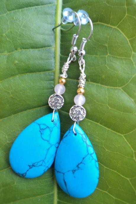 Turquoise & Rose Quartz Earrings