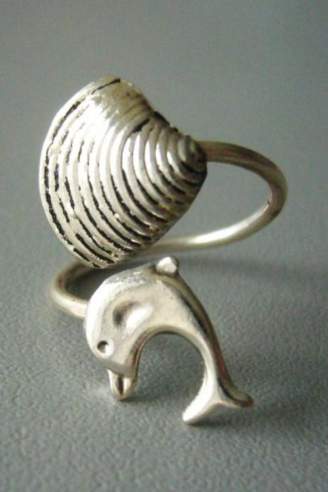 silver dolphin ring with a shell, wrap open style, adjustable ring, animal ring