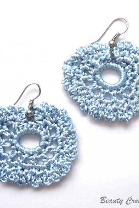 Blue Light Crochet Earrings Pattern