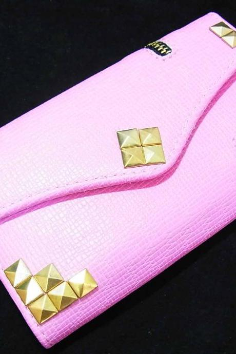 Zipper Credit Card Holder Wallet Flip Deluxe Leather Gold Metal Studded Pyramid Puzzle Case Cover Samsung Galaxy S3 I9300 T999 T-Mobile Pink