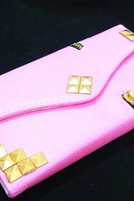 Zipper Credit Card Holder Wallet Flip Deluxe Leather Gold Metal Studded pyramid Puzzle Case Cover for Samsung Galaxy S4 i9500 i9505 LTE Pink