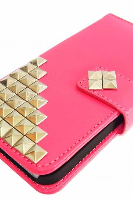 Credit Card Holder Wallet Flip Deluxe Style Leather Silver Metal Stud Trim Pyramid Puzzle Skin Case Cover for iPhone 5 5G Dark Pink BL7