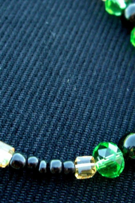 Green Swarovski Necklace Black