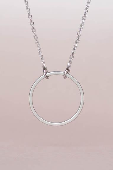 Silver Hoop Necklace, Geometric Halo Circle Necklace, Minimalist, Zen, Eternity Circle
