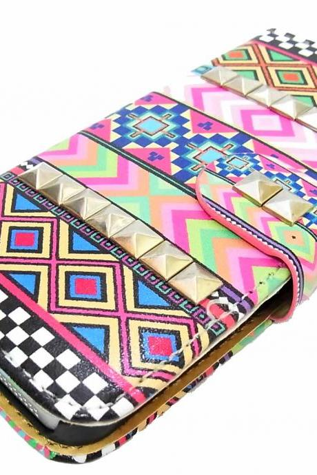 Samsung Galaxy S4 case,Aztec Geometric Credit Card holder Pyramid Studded Samsung Case,Studs Leather Wallet Phone Case Samsung S4 case Cover A3