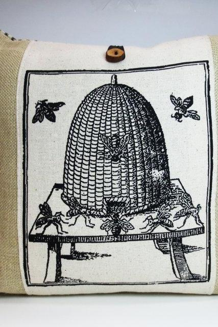 Burlap Pillow with Antique Bee Hive Screen Print