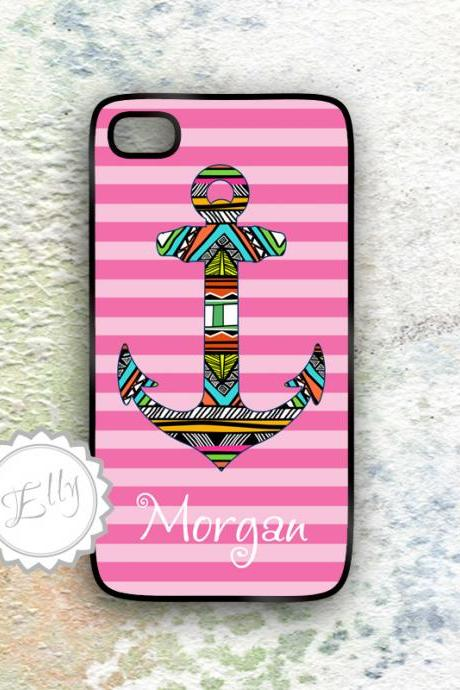 IPhone case tribal nautical anchor Aztec tribals pattern with pink stripes iPhone 4/4S and iPhone 5 case