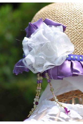 Altered straw hat Great Gatsby style. cute cap altered 1920's style. Purple ribbon and beads with white fabric flowers