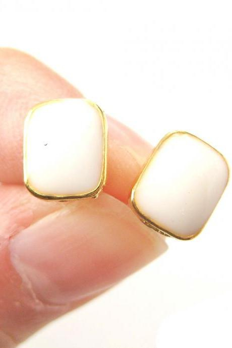 Small Rectangular White on Gold Stud Earrings Simple and Cute
