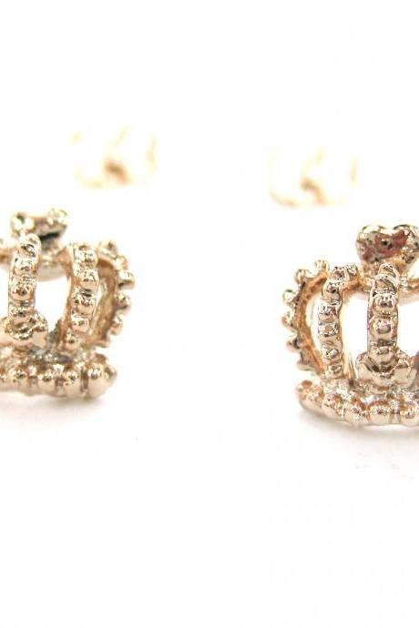 Small Crown Shaped Princess Themed Stud Earrings in Rose Gold