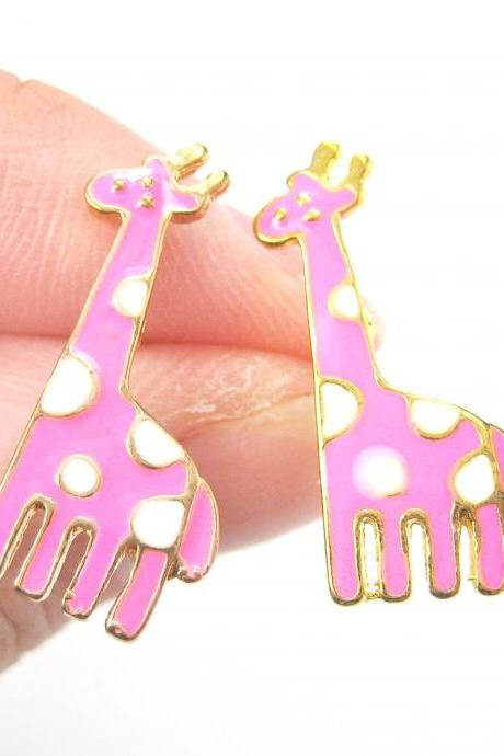 Large Giraffe Shaped Animal Stud Earrings in Pink with White Polka Dots