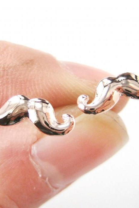 Classic Handlebar Moustache Shaped Small Stud Earrings in Rose Gold