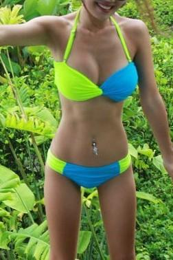 Super Sexy Two Colors Swimsuit Bikini - Green&Blue