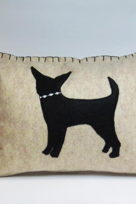 Beige Felt Pillow with Black Chihuahua Silhouette and Pink Accents