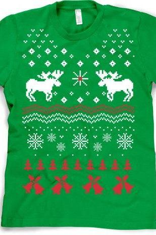 Reindeer Ugly Christmas Sweater T Shirt S-3XL