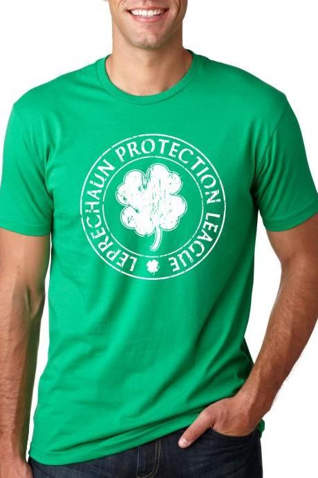 Leprechaun t shirt protection league funny st pats t shirt S-3XL