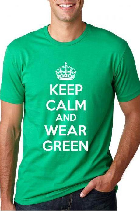 Keep Calm Wear Green Shirt funny Saint Patrick's Day t shirt S-4XL