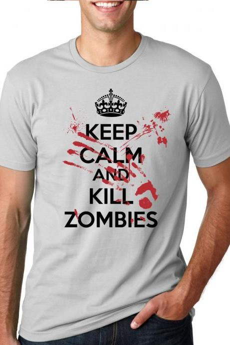 Zombie t shirt keep calm kill zombie attack S-4XL