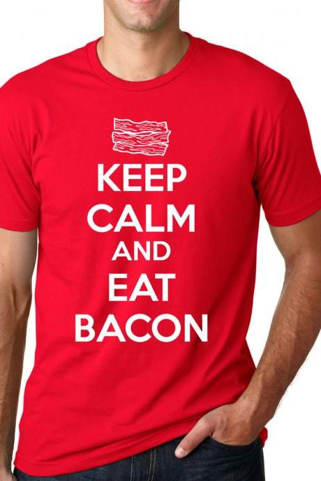 Keep Calm and Eat Bacon t shirt funny bacon shirt S-4XL