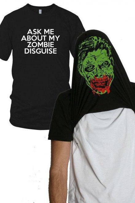 Funny Zombie Disguise t shirt zombie shirt size S-4XL