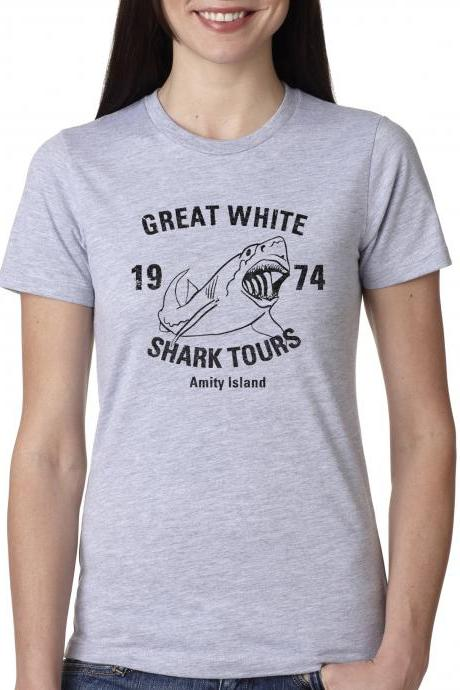 Great White Shark Tours t shirt funny sharks shirt S-4XL