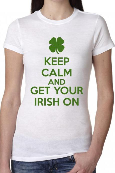 Keep Calm Irish On Shirt funny Saint Patrick's Day t shirt S-4XL