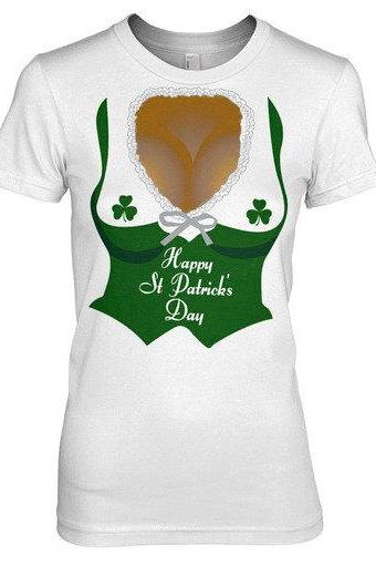 Women's St Patricks day Cleavage shirt S-2XL