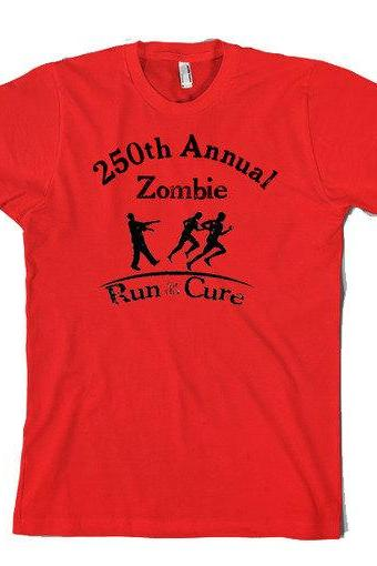 Zombie t shirt Run for the cure funny zombie shirt cool design size S-3XL