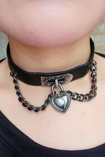 Punk love heart black leather collar necklace chain