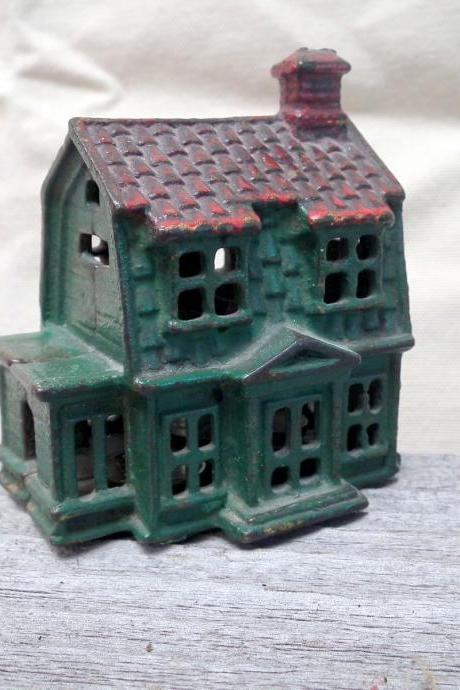 Antique Cast Iron School House Bank