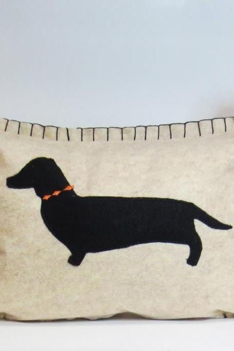 Beige Felt Pillow with Black Dachshund Silhouette and Pumpkin Orange Accents