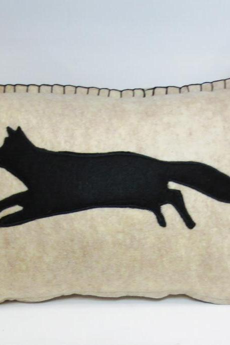 Beige Felt Pillow with Black Fox Silhouette and Pumpkin Orange Accents