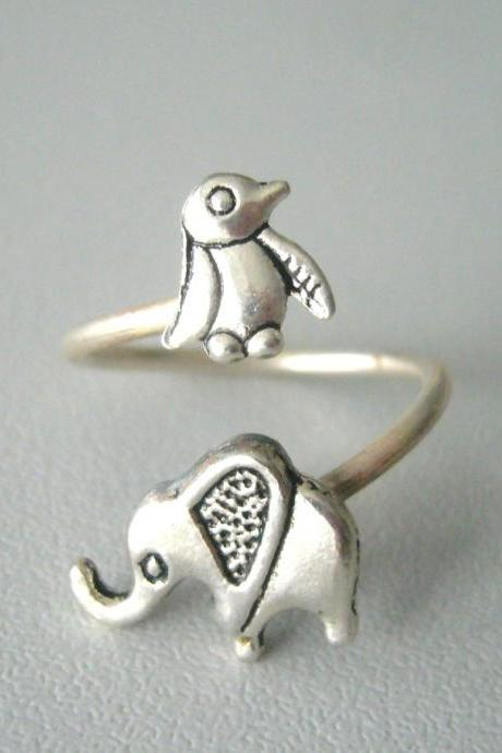 silver penguin elephant ring wrap style, adjustable ring, animal ring