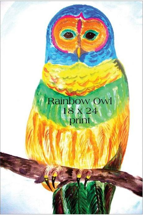 Large 18 x 24 Rainbow Owl Print