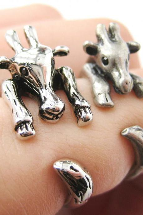 Large Giraffe Animal Wrap Ring in Shiny Silver Sizes 4 to 9 US Realistic and Cute!