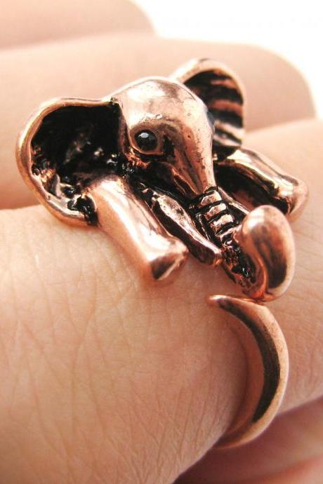 Realistic African Elephant Animal Wrap Ring in Shiny Copper Sizes 6 to 10.5