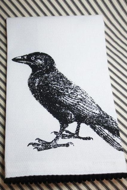 White kitchen towel or tea towel with crow or raven screen print