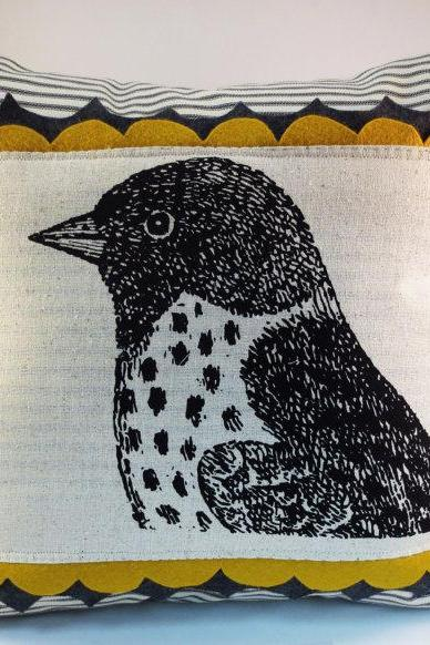 Sparrow Bird Screen Print Pillow