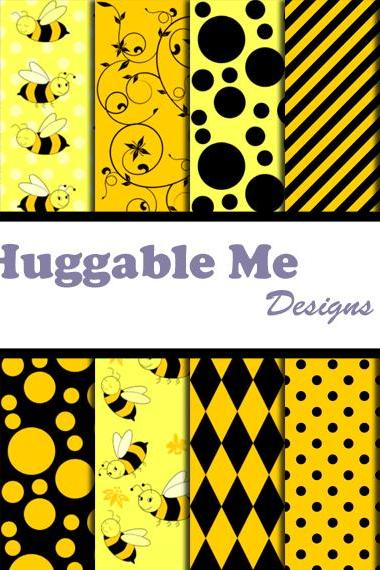 Bumble Bee Paper - Yellow & Black Chevron, Gingham, Busy Bee Themed Patterns for Scrapbook, Card 12x12 - HMD00075